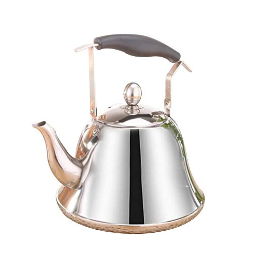 DINNA Surgical Stainless Steel Teapot for All Stovetops, Silicone Handle, Mirror Finish Household Whistle Kettle 304 Stainless Steel Ring Pot Gas Stove Induction Cooker Universal