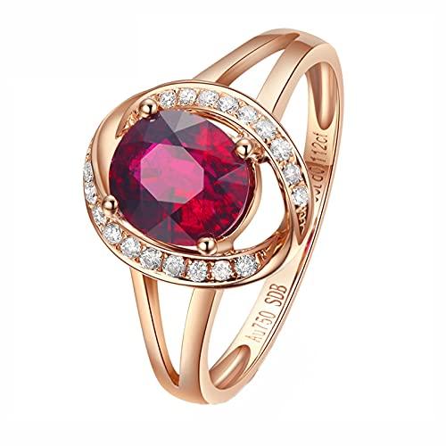 Amody Anillo Oro Rosa Mujer 18 Kilates, Anillos para Matrimonio 1CT Turmalina con Diamante Tamaño 20
