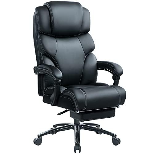 KCREAM Leder Chefsessel mit 180 KG Belastbarkeit Ergonomischer Bürostuhl mit Fußstütze Rückenschonend Reclining Office Stuhl, Metallbasis, Höhenverstellbar und Wippfunktion (Schwarz)
