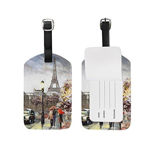 My Daily Eiffel Tower Paris - Etiquetas para equipaje de piel sintética (2 unidades)
