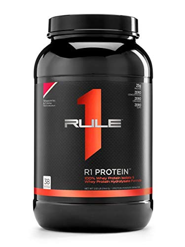 R1 Protein Whey Isolate/Hydrolysate, Rule 1 Proteins (38 Servings, Strawberries and Creme)