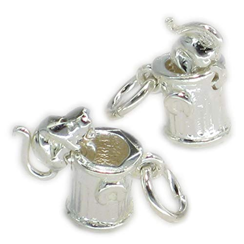 Cat in dustbin trashcan movable sterling silver charm .925 x1 Cats Charms