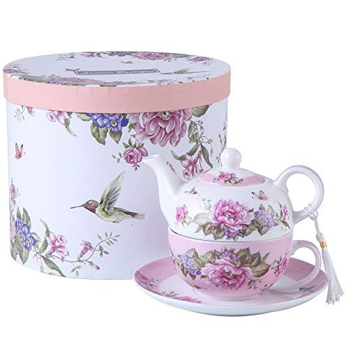 London Boutique Tea for One - Juego de Tetera y Taza de azúcar Shaby Chic Flora pájaro, Rosa y Mariposa, Caja de Regalo de Porcelana (Rosa)