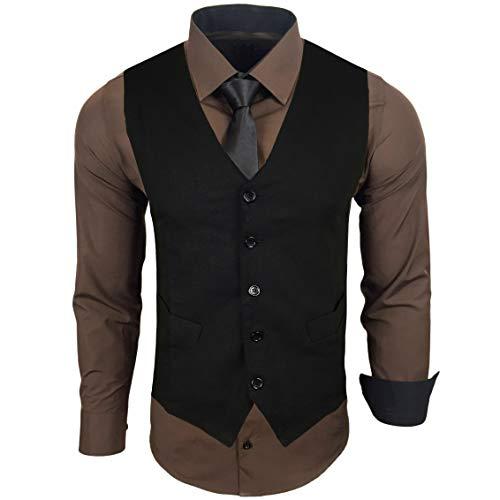 Rusty Neal Herren Hemd mit Weste Krawatte Anzugs Sakko Business Hochzeit Freizeit Hemden Set wählbar RN-44-HWK, Größe:2XL, Farbe:Braun