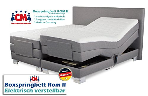 Boxspringbett ROM II elektrisch verstellbar mit Motor. Manufaktur Design. Härtegrad H2 / H3 frei wählbar. Made in Germany. 160x200 | 180x200 | 200x200 cm. Qualität Made in Germany (160 x 200 cm)