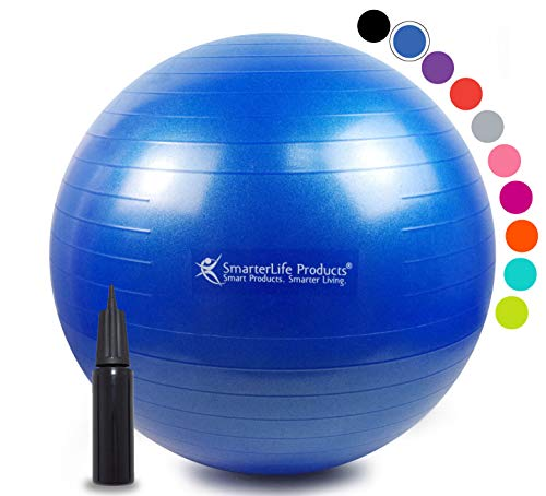 Exercise Ball for Yoga, Balance, Stability from SmarterLife - Fitness, Pilates, Birthing, Therapy, Office Ball Chair and Flexible Seating | Anti Burst, Non Slip | + Workout Ball Guide (Blue, 75 cm)