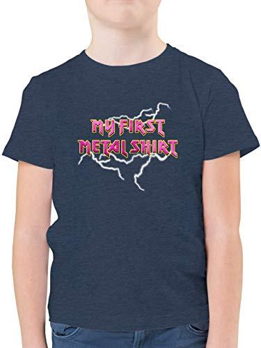 Sprüche Kind - My First Metal Shirt mit Blitzen rosa - 152 (12/13 Jahre) - Dunkelblau Meliert - T-Shirt - F130K - Kinder Tshirts und T-Shirt für Jungen