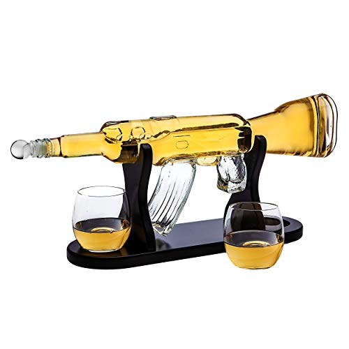 Rifle Gun Whiskey Decanter with 2 Whiskey Glasses Set - for Liquor, Scotch, Bourbon Vodka