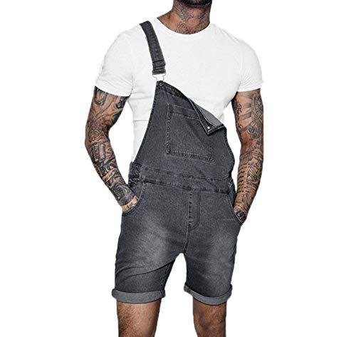 Huateng Hombres Moda Agujero Rasgado Engarzado Denim Mono Corto Lavado Distressed Jeans Cortos Monos Peto