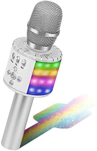 Micrófono BONAOK para Niños, Karaoke con Micrófono Bluetooth, Micrófono de Karaoke Portátil 3 en 1 Portátil con Luces, Máquina de Karaoke para Fiesta de Cumpleaños para iPhone/iPad/Android...