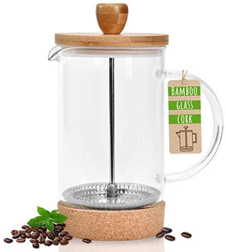 ZEN HOME – French Press (0,6L) für 3-4 Tassen Kaffee & Tee - Kaffeebereiter aus Glas + Bambus mit Edelstahl-Sieb + Korkuntersatz, kleine Kaffeepresse plastikfrei