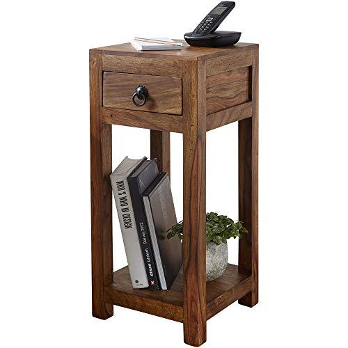 FineBuy Beistelltisch Massiv-Holz Sheesham 68 cm hoch Wohnzimmer-Tisch mit Schublade Design Landhaus-Stil Couchtisch Natur-Produkt Wohnzimmermöbel Unikat modern Massivholzmöbel Echtholz Anstelltisch