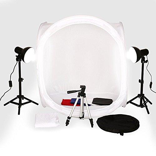 SBARTAR Lichtzelt mit Beleuchtung 80x80x80cm Mini Fotostudio Lichtwürfel 4 Hintergrundstoffe Fotozelt Set 2 Fotolampe 1 Kamerastativ