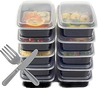 10 boites alimentaires réutilisables avec couvercles et couverts (fourchettes et couteaux) barquette transport conservatio...
