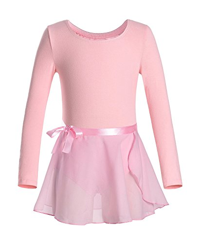 iMixCity Gimnasia Danza Leotardo Traje de Ballet de Manga Larga para Niñas de Ballet Equipamiento Básico con Falda Envolvente (130 (5-6 años de Edad), Rosa)