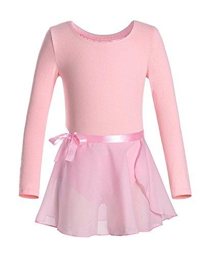 iMixCity Gimnasia Danza Leotardo Traje de Ballet de Manga Larga para Niñas de Ballet Equipamiento Básico con Falda Envolvente