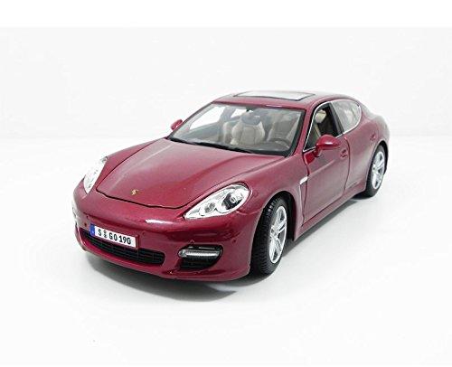 Maisto Porsche Panamera Turbo, Modellauto mit Federung, Maßstab 1:18, Türen und Motorhaube beweglich, Fertigmodell, lenkbar, 24 cm, rot (536197)