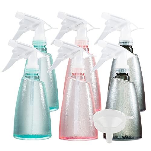 ZEOABSY 12 Piezas 500ml Mixto Botella de Spray Vacías Plástico, 500 ml Recargable Botellas de Spray de Niebla Fina para Limpieza, Cabello, Plantas, Flores, Peluqueria + 1 x Embudo