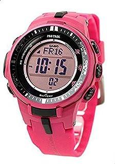 ساعة يد للرجال من كاسيو بسوار من السيليكون ومينا بلون وردي - طراز PRW-3000-4BDR