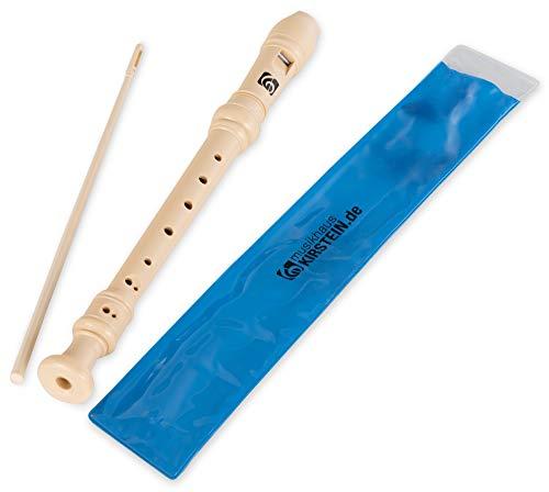 Kirstein Sopran Blockflöte Beige (Schüler Flöte, C-Sopran, Doppelloch, deutsche Griffweise, aus stabilem Kunststoff, inklusive Kunstoff-Etui und Wischerstab)