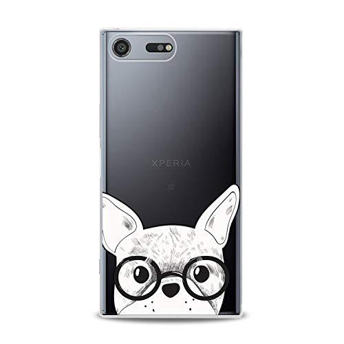Lex Altern TPU Case Compatible for Sony Xperia 5 II 10 Plus L4 L3 XZ4 XZ3 XZ2 XA3 XA Smart Lightweight Bulldog Glasses Girl Art Cover Animal French Smooth Print Dog Design Clear Slim fit Soft White