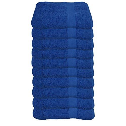 Julie Julsen Lot de 10 serviettes d'invité sans produits chimiques - 600 g/m² - Bleu roi - 30 x 50 cm - 100 % coton - Certifié Oeko-Tex Std 100 - Doux et absorbant - Lavable en machine