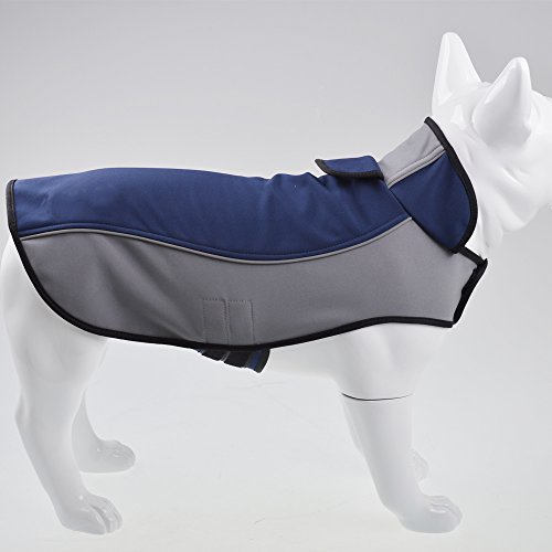 Fosinz Outdoor Waterproof Dog Jacket Dog Coat with Reflective Stripe (M(Length:14',Neck:15',Breast:18'), Blue)