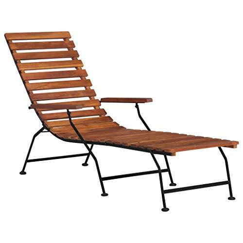 vidaXL Madera Acacia Maciza Tumbona de Jardín Muebles Mobiliario de Exterior Terraza Porche Patio Casa Hogar Piscina Aire Libre Asientos Sofá Sillones