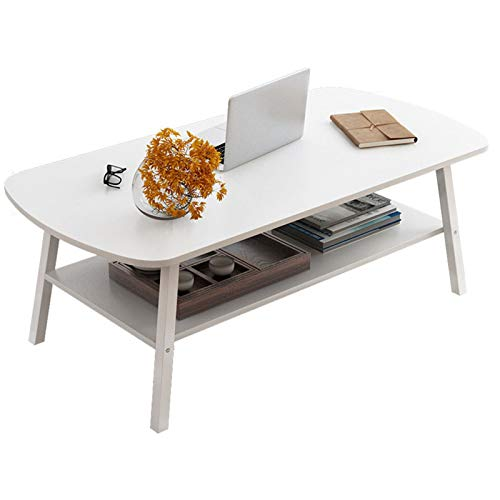 EVFIT Mesa de centro de ocio con estante de almacenamiento para sala de estar, mesa de cóctel, mesa de televisión, sofá, mesa de fácil montaje (color: blanco, tamaño: 100 x 50 x 50 cm)