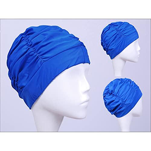 Gorro de natación Mujeres nadando gorra nueva tela de nylon elástica protege las orejas de pelo largo de la piscina de la piscina de la piscina para el sombrero de la piscina para la hembra del sombre