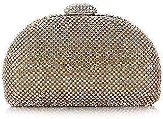 Shoulder Bag Women;S Polyester Evening Bag Crystal Detailing for Wedding Event/Party All Seasons Gold Black Silver Handbag Clutch (Color : Gold)