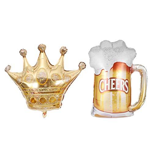 Happyyami Corona d'oro E Boccale di Boccale di Birra Palloncini Giganti in Foglio di Alluminio Corona Gonfiabile Boccale di Birra Boccale Foto Puntelli per Matrimonio Compleanno Baby Shower 2 Pezzi