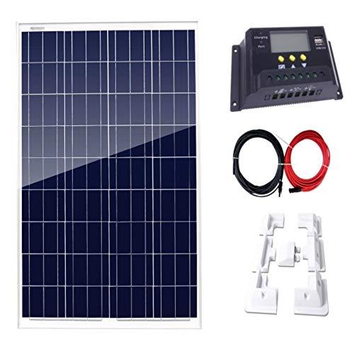 AUECOOR 100 Watt Solarpanel + 20 A LCD Display PWM Laderegler + 7 Halterungen + 5 m Solarkabel Adapter für Off-Grid Wohnmobil Boots-Kit