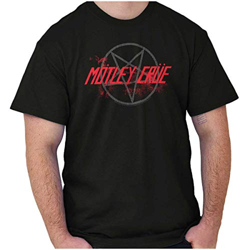 Brisco Brands Motley Crue Band Pentagram Logo Womens Mens Crewneck T Shirt Black