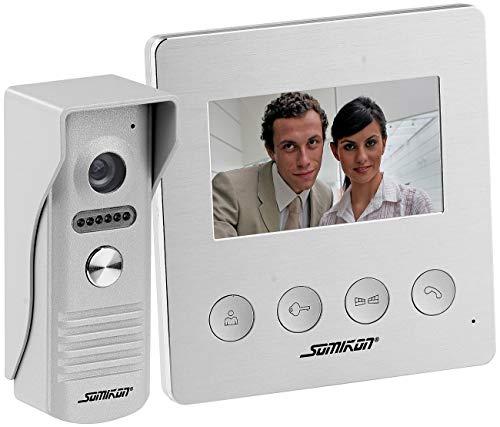 Somikon Video Klingel: Video-Türsprechanlage mit Farbdisplay, LED-Licht & Türöffnungsfunktion (Video Türklingel mit Türöffner)