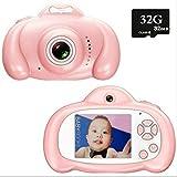 Toys Camera Mini 2.0 Pulgadas HD IPS Screen Niños Cámara para niños 1080P Video Recorder Flash Photo 12MP Videocámara para niños Regalo 32GB SD Rosa