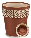TIENDA EURASIA® Maceta de Plástico - Diseño Geométrico Rayas - 3 en 1- Maceta + Bandeja Interior + Bajoplato (Marrón, 25 cm)