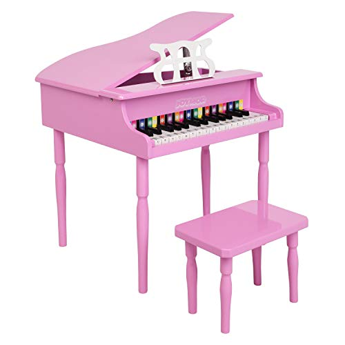 JOYMOR Classical Kids Piano, 30-Key Wood Toy Grand Piano for Toddles, Baby Piano Musical Instrument Toy w/ Bench, Music Stand and Song Book (Pink)
