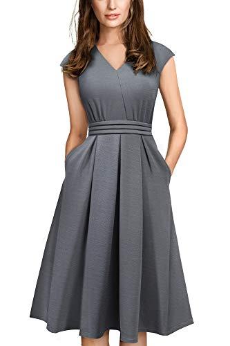 HOMEYEE Damen Vintage 50er Cap Sleeve Cocktail Retro mit Pocket Flared Kleid A196 (XL, Grau)