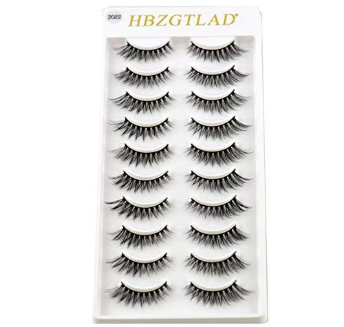 ZZDJ Faux Cils Maquillage 10 Paires de Cils 3D Faits à la Main Courts Faux Cils Cross Messy Dense Natural Eye Lashes Stage Makeup False Eyelashes U