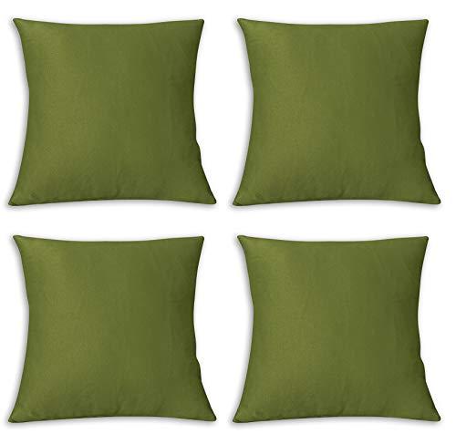 FARFALLAROSSA Copricuscini Fodere per Cuscini Quadrate, Impermeabile e Antimacchia, Decorazione per Divano Casa, 55x55 cm Verde Pacco da 4