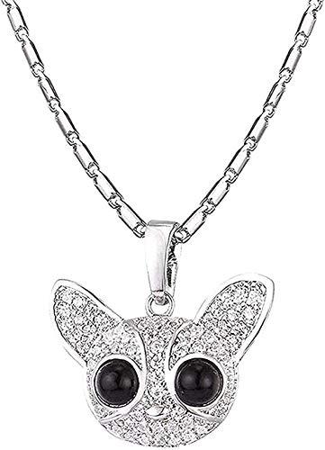 N-G Collar Hermoso Collar con Colgante de Chihuahua de Cristal Completo para Mujer, Collares de...