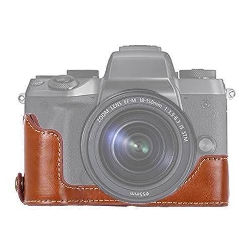 """YANTAIAN Accessoires de l'appareil Photo Demi-Coque de caméra en Cuir PU avec Filetage 1/4""""pour Canon EOS M5 (Couleur : Brown)"""
