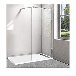 Plato de ducha de resina con marco frontal y lateral - 80x140cm en color blanco RAL 9003 y Panel de ducha fijo de 90cm. con perfil de aluminio cromado y cristal transparente. Conjunto.