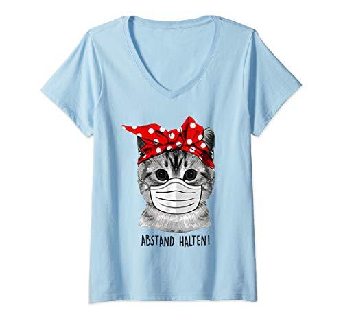 Damen Abstand Halten Katze Schutzmaske lustige Katze T-Shirt mit V-Ausschnitt