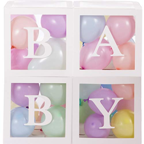 Baby Shower Boxes Party Decorations - 44pcs, 32 Pastel Balloons Gender Reveal Boy/Girl First Birthday Home Decor, Centerpiece/Backdrop Supplies Clear Blocks, 4 White Transparent Box, 8 Letters Set