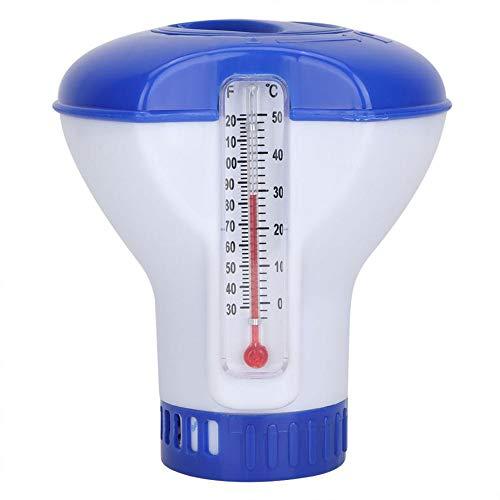 N /A Dispensador de Cloro de bromo químico para Piscina Flotante con termómetro para Piscinas Interiores y Exteriores, dispensador automático de químico para Piscina químico de Cloro