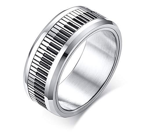 VNOX 8 mm de Acero Inoxidable de Dos Tonos en Blanco y Negro Teclado Piano Music Spinner Ring para Hombres, Tamaño 16.5