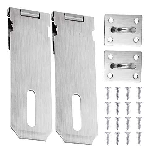 HSEAMALL 12,7 cm Vorhängeschloss und Klammer, robuster Sicherheits-Türverschluss, Torschloss, gebürstetes Edelstahl, 2 Stück