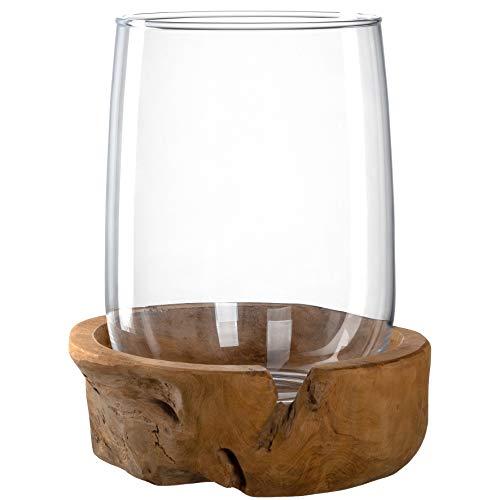 Leonardo Terra Windlicht mit Teaksockel, Höhe 27 cm, handgefertigtes Klarglas und Holz, 084409